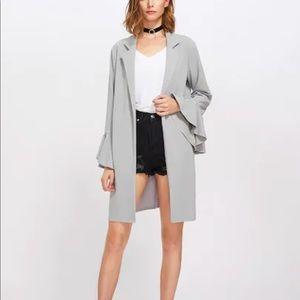 Jackets & Blazers - Gray trumpet sleeve front coat